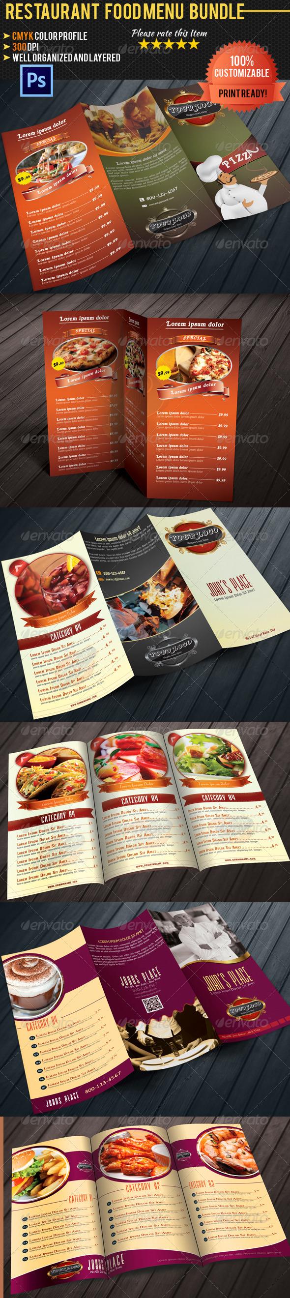 Tri-fold Restaurant Food Menu Template Bundle - Food Menus Print Templates