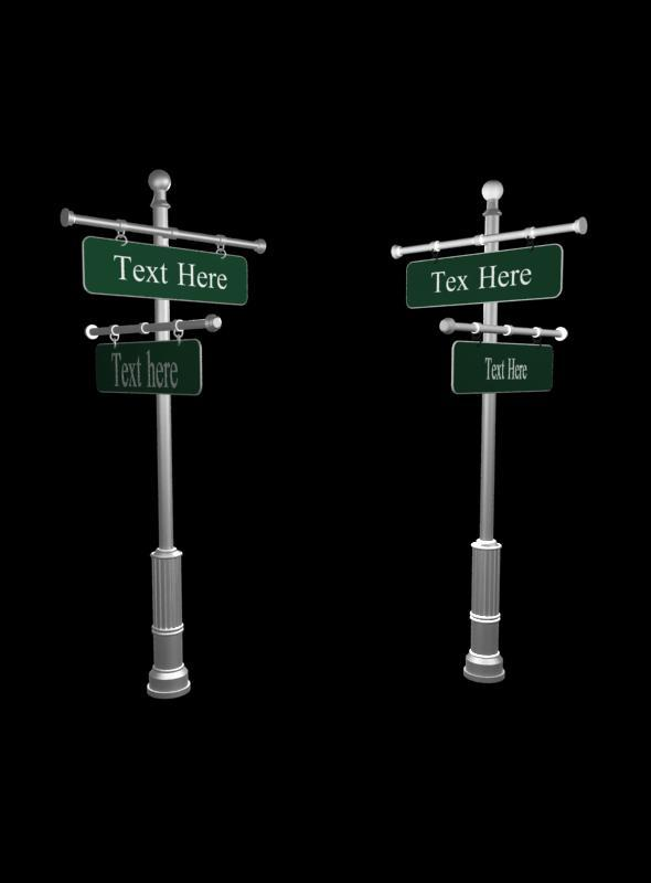 Street post sign - 3DOcean Item for Sale