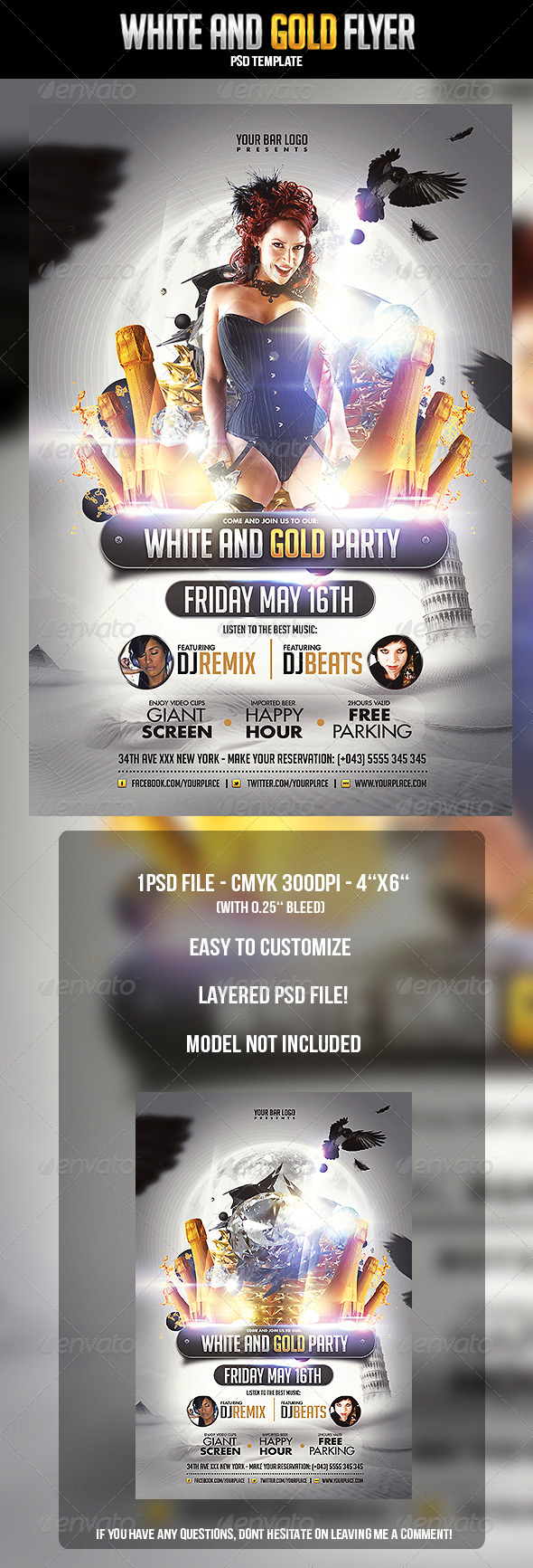 White and Gold Flyer Template - Clubs & Parties Events