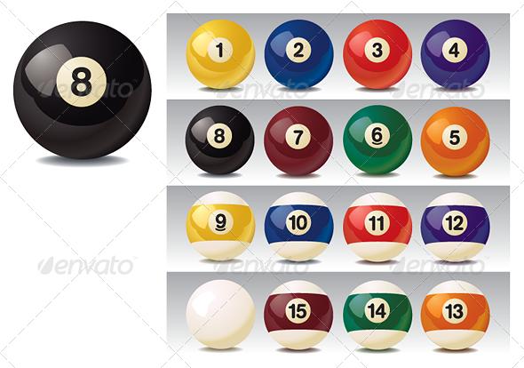 Realistic Vector Billiard Balls - Sports/Activity Conceptual