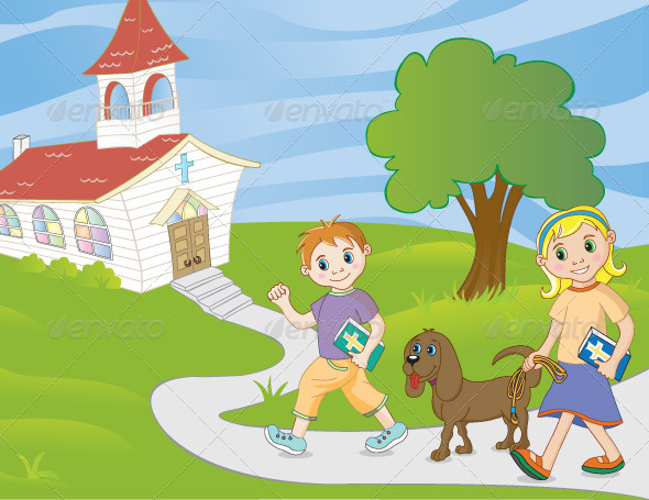 Children Walking to Church - People Characters