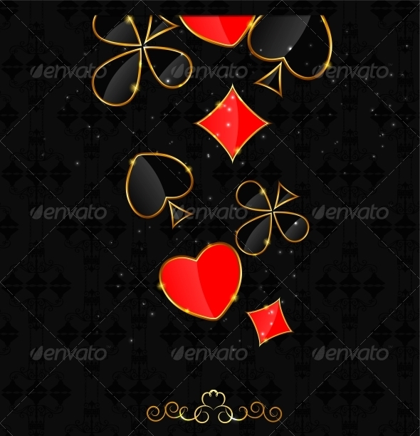 Abstract Background with Card Suits  - Decorative Symbols Decorative