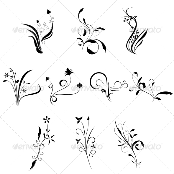 Curly Flowers Designs Vector Pack - Flowers & Plants Nature