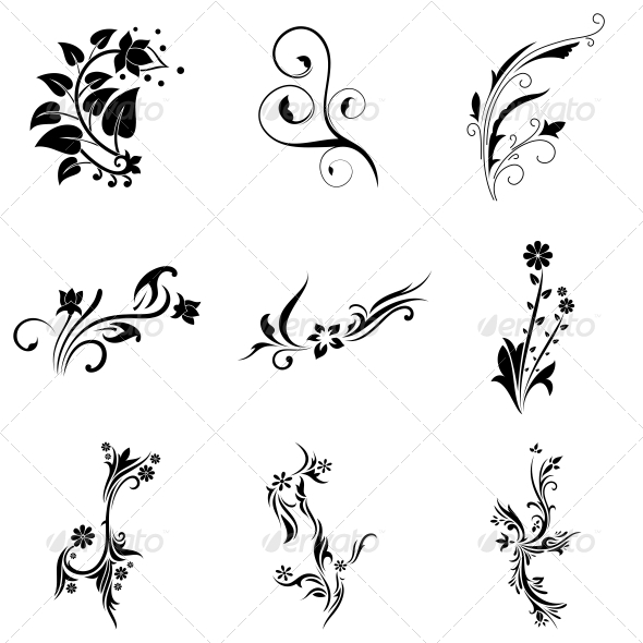 vr sg by decor nature decorative item flowers plants tribal pack vector graphicriver abstract vecras
