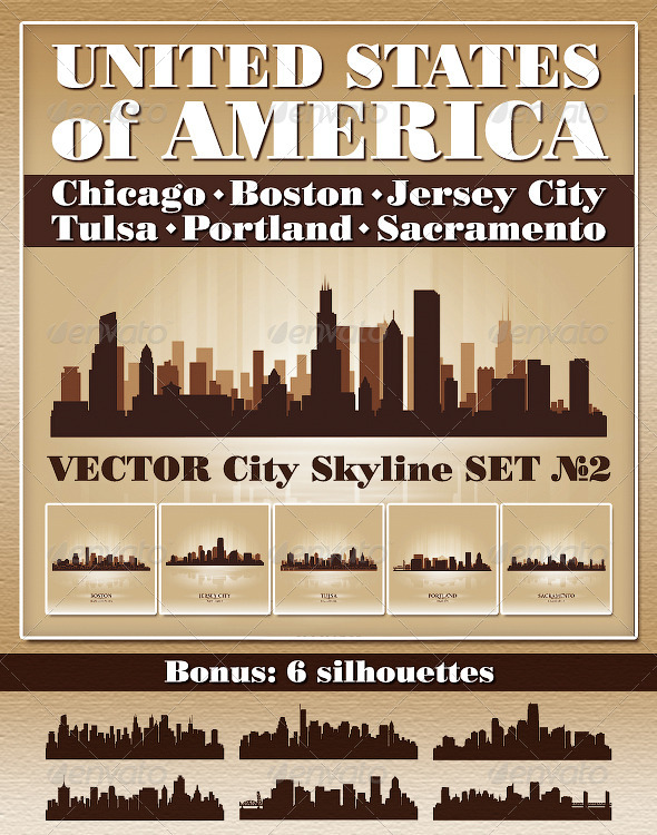 Vector City Skyline USA Set Number 2 - Buildings Objects