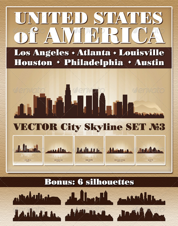 Vector City Skyline USA Set Number 3 - Buildings Objects