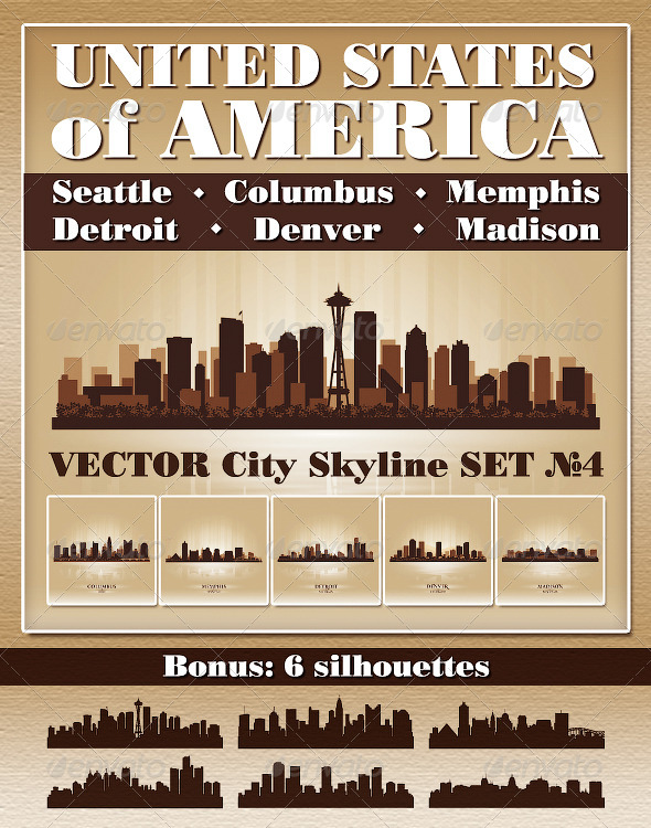 Vector City Skyline USA Set Number 4 - Buildings Objects