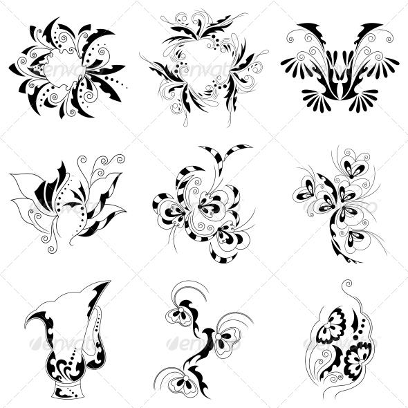 Decorative Floral Elements Vector Pack - Flowers & Plants Nature