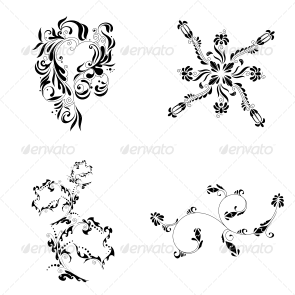 Decorative Floral Elements - Vector Pack - Flowers & Plants Nature