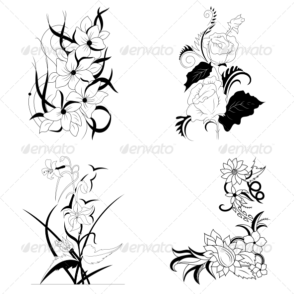 Decorative Floral Elements - Vector Pack - Flowers & Plants Nature