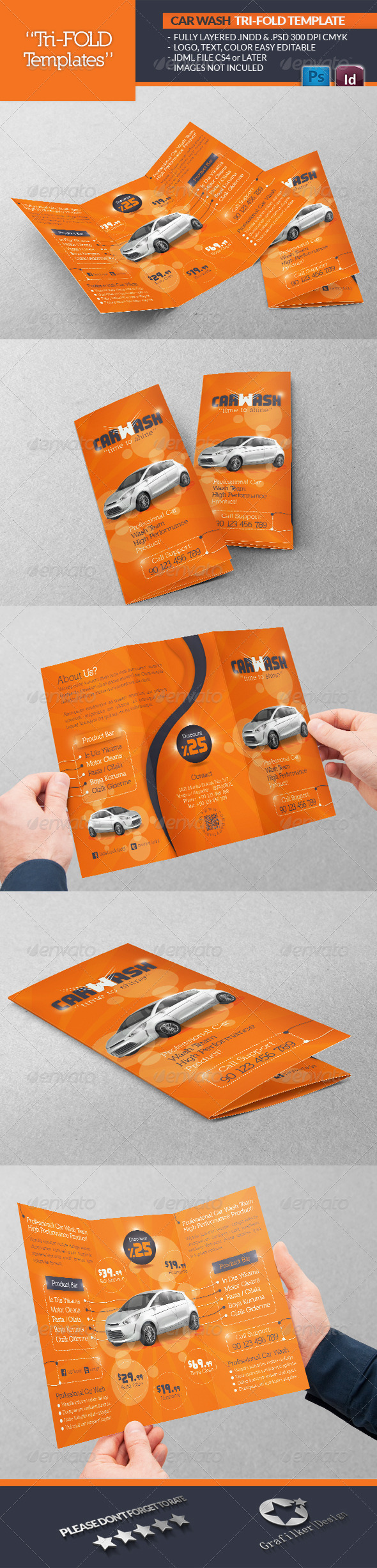 Car Wash Tri-Fold Template - Catalogs Brochures