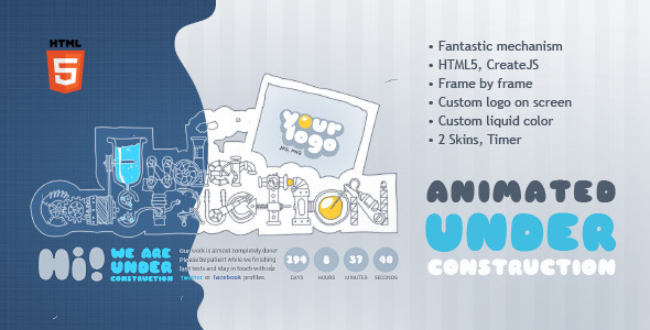 Under Construction Machine Animated HTML5 Template - Under Construction Specialty Pages