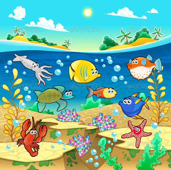 Family of Fish in the Sea.  - Animals Characters