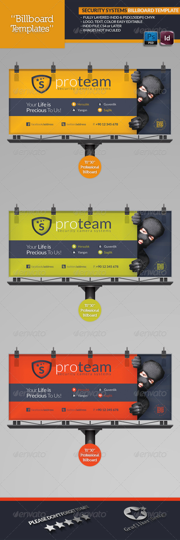 Security Systems Billboard Template - Signage Print Templates