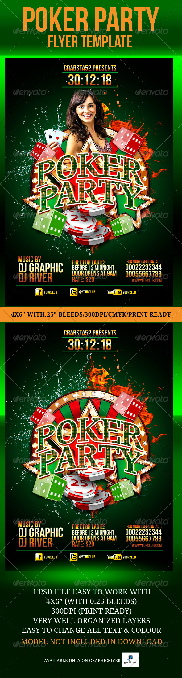 Poker Party Flyer Template - Flyers Print Templates