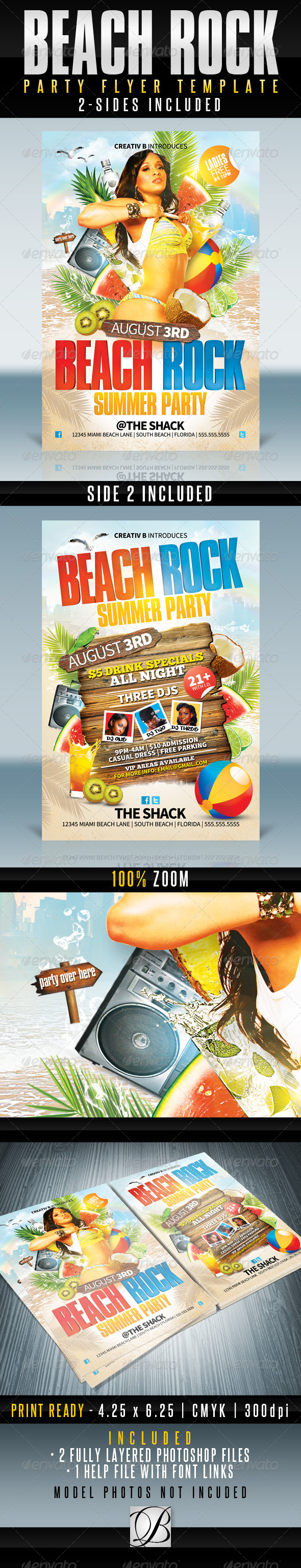 Beach Rock Party Flyer Templates - Clubs & Parties Events