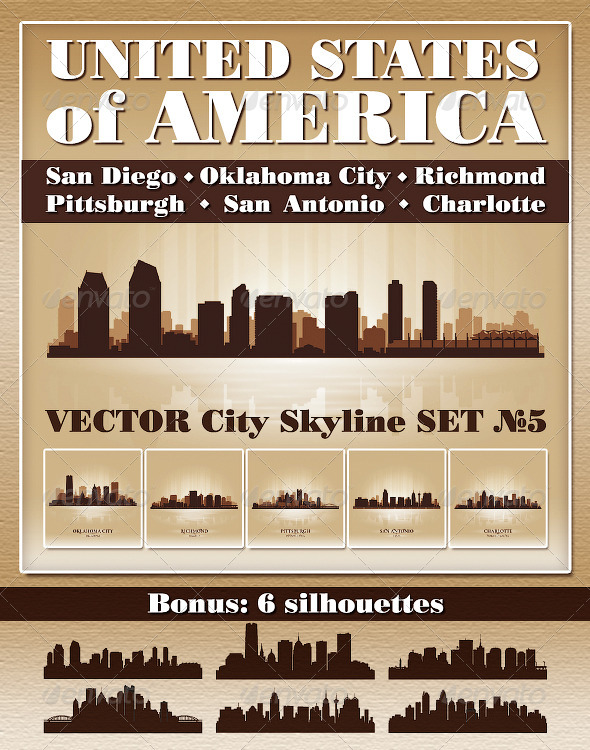 Vector City Skyline USA Set Number 5 - Buildings Objects