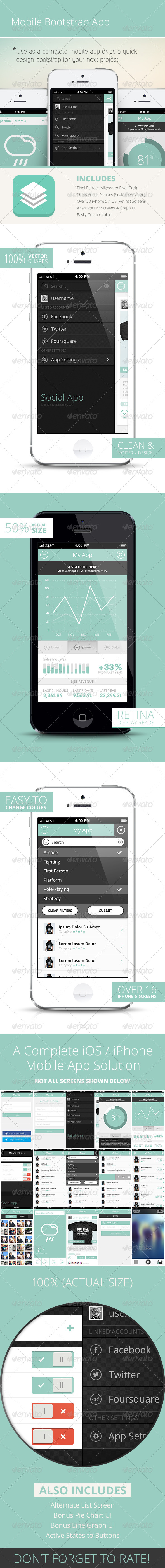 Bootstrap Mobile Phone UI / App - User Interfaces Web Elements