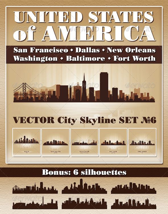 Vector City Skyline USA Set Number 6 - Buildings Objects