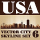 Vector City Skyline USA Set Number 6 - GraphicRiver Item for Sale