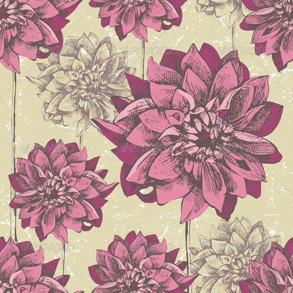 Dahlia Seamless - Patterns Decorative