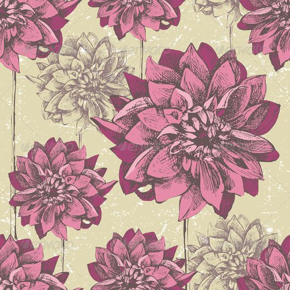 Dahlia Seamless - Patterns Decorative