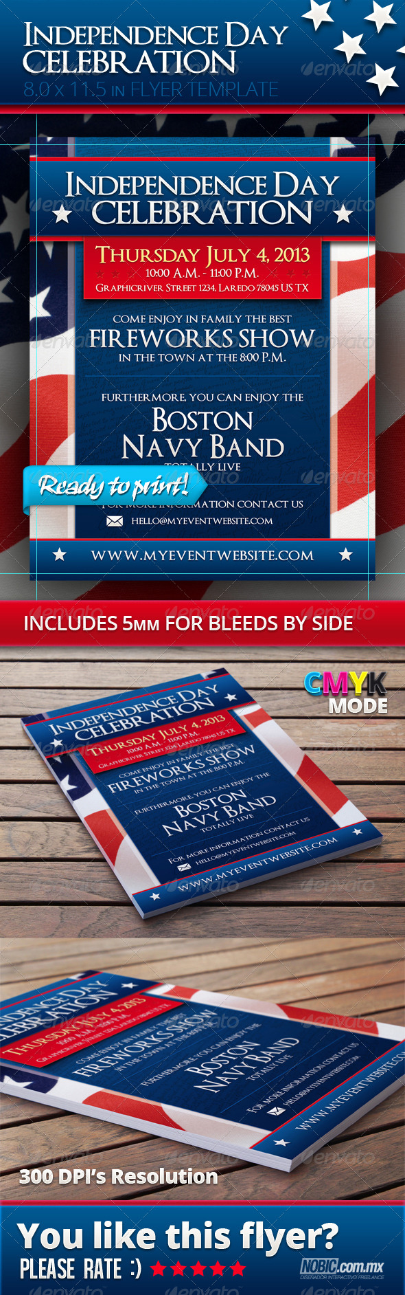 4th Of July - Independence Day Flyer Template - Holidays Events
