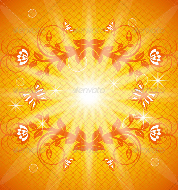 Orange Floral Background - Flourishes / Swirls Decorative