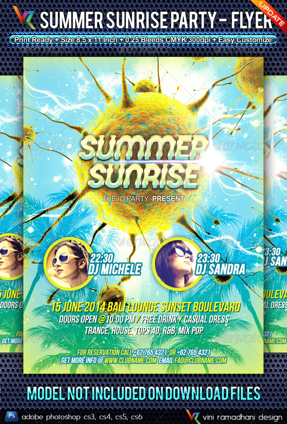 Summer Sunrise Party Flyer - Clubs & Parties Events