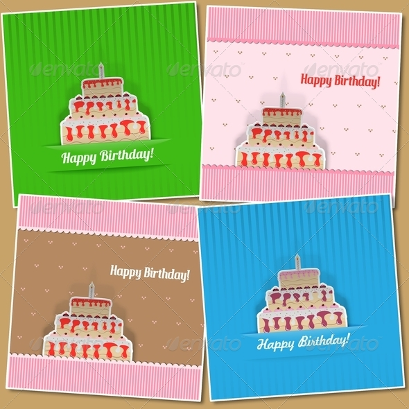 Set of Four Birthday Cards - Birthdays Seasons/Holidays