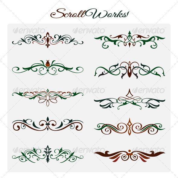 Scroll Works Design Elements - Flourishes / Swirls Decorative