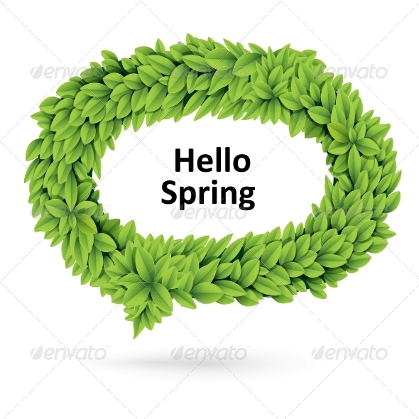 Green Spring Speech Bubble of Leaves - Flowers & Plants Nature