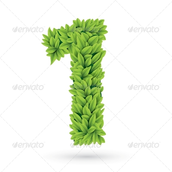 Number of Green Leaves with Shadow - Decorative Symbols Decorative