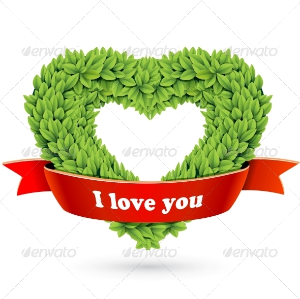 Heart of Leaves with Red Ribbon and Text - Flowers & Plants Nature