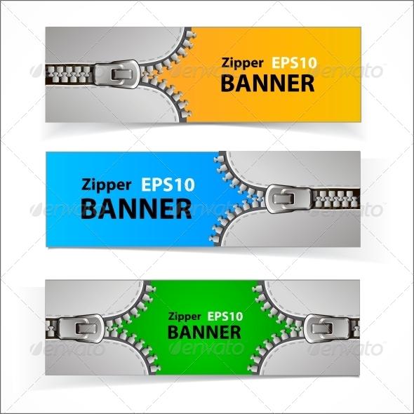 Promotional Sale Banners with Zipper - Web Elements Vectors