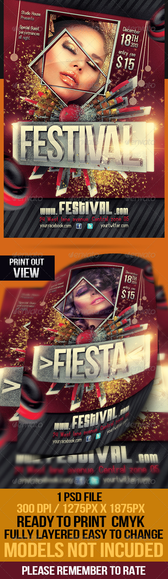 Festival Fiesta Party Flyer - Flyers Print Templates