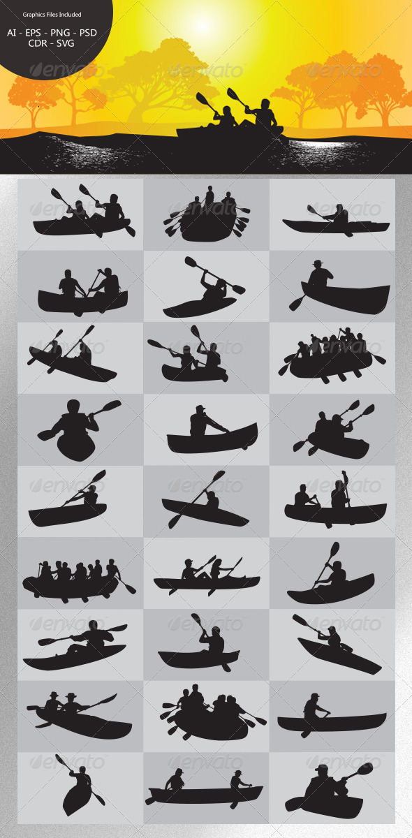 Paddling Silhouettes - Sports/Activity Conceptual