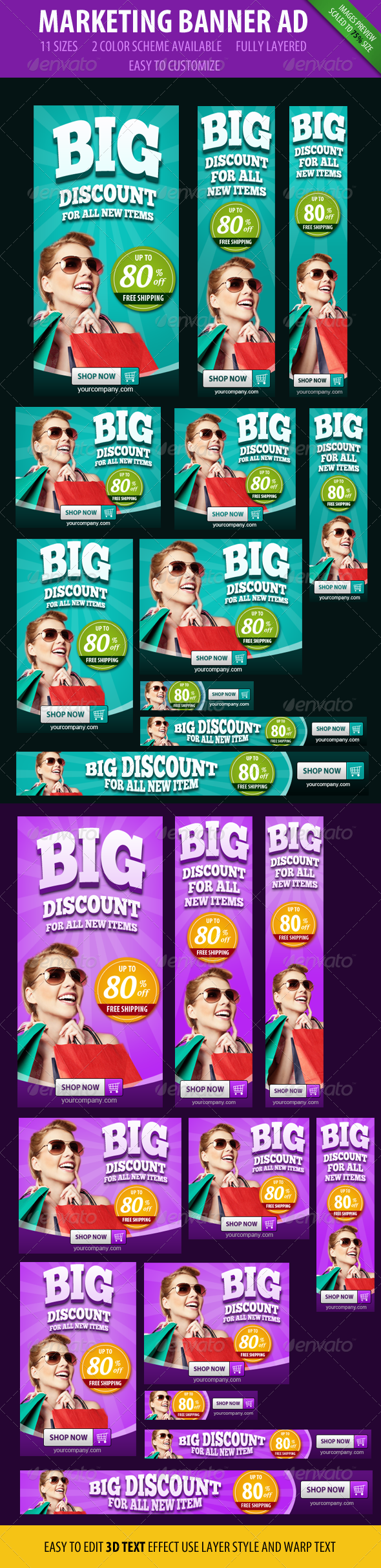 Marketing Banner ad - 3D style - Banners & Ads Web Elements