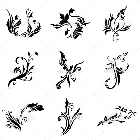 Abstract Tribal Decorative Flowers Vector Pack - Flowers & Plants Nature