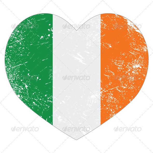 Ireland Heart Retro Flag - St Patricks Day - Miscellaneous Seasons/Holidays