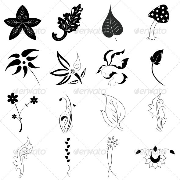 Decorative Floral Leaf Elements - Vector Pack - Flowers & Plants Nature