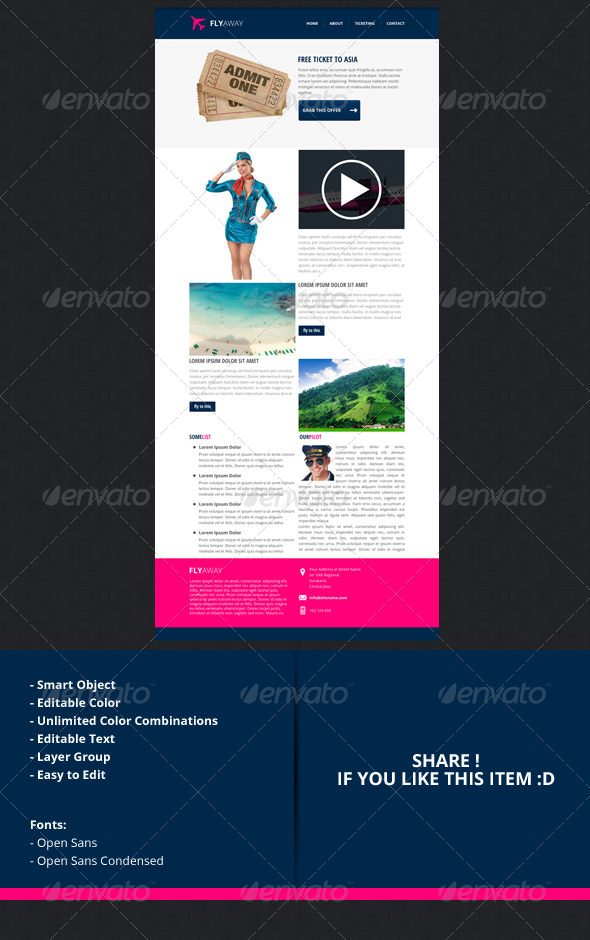 Flyaway  Psd Email Newsletter Template By Indiefreelancer