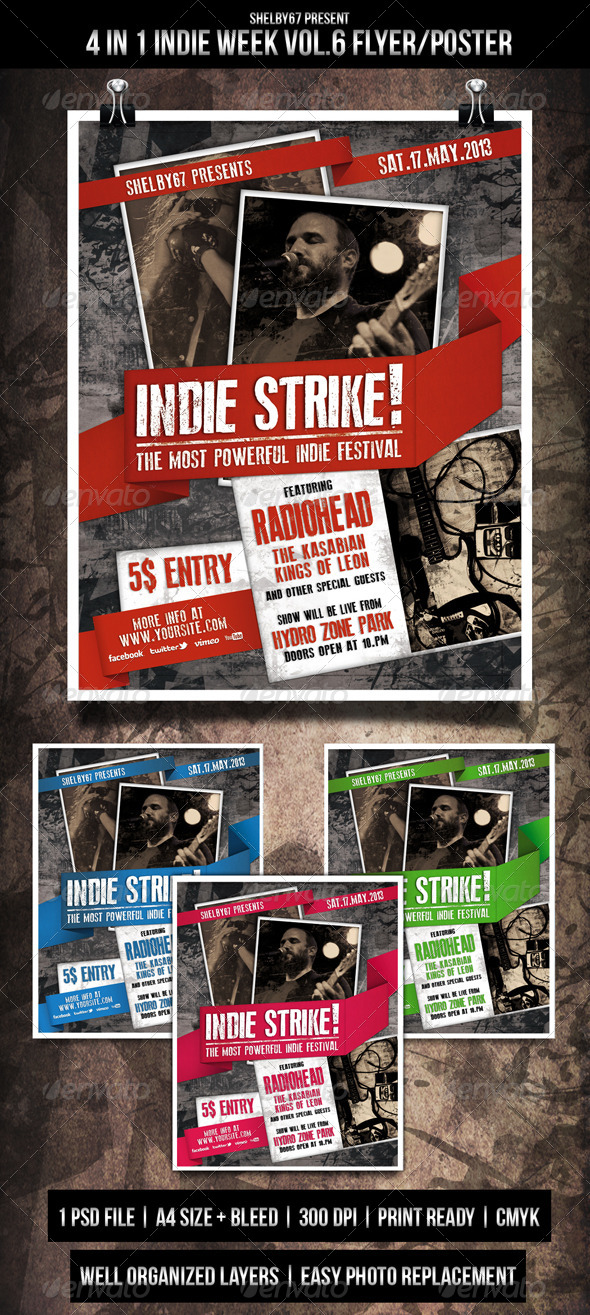 Indie Week Flyer / Poster Vol.6 - 4 in 1 - Events Flyers