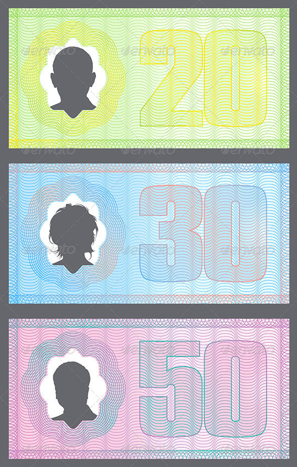 Funny Money with Gradient Protection Lines - Decorative Vectors