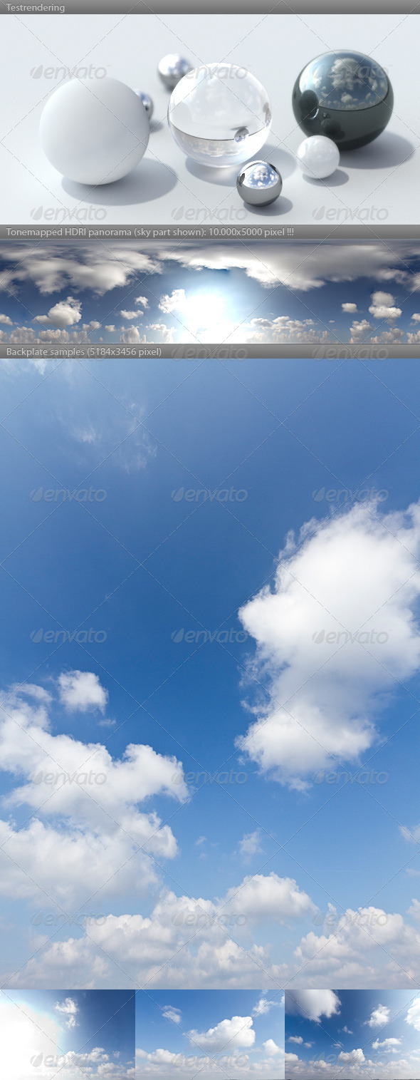 HDRI spherical sky panorama -1037- summer sky - 3DOcean Item for Sale