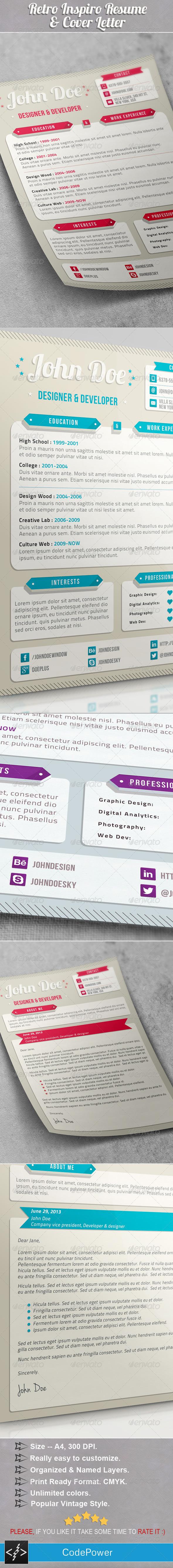 Retro Inspiro Resume & Cover Letter - Resumes Stationery
