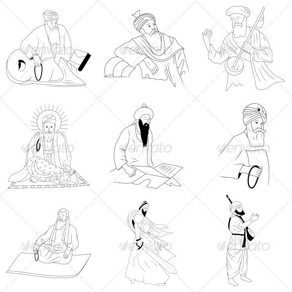 The Sikhism Guru - Vector Designs Pack - Religion Conceptual