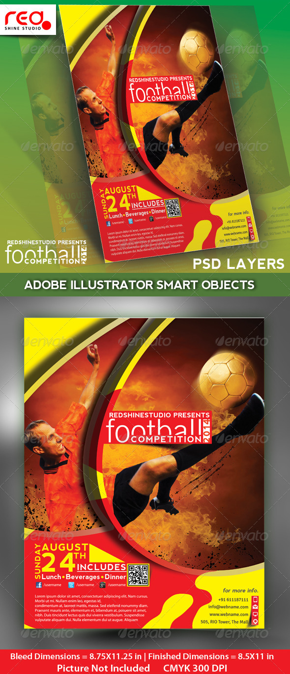 Football Competitions Flyer, Poster & Magzine Temp - Sports Events