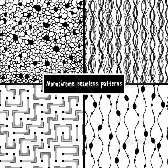 Set of Four Monochrome Geometrical Patterns - Patterns Decorative
