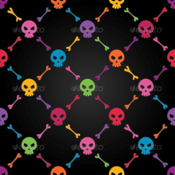 Multicolor Seamless Pattern with Skulls - Patterns Decorative